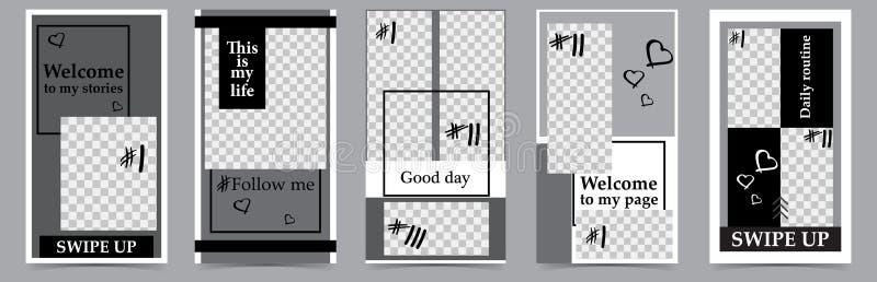 Καθιερώνοντα τη μόδα editable πρότυπα για τις ιστορίες instagram, πώληση Υπόβαθρα σχεδίου για τα κοινωνικά μέσα Συρμένη χέρι αφηρ ελεύθερη απεικόνιση δικαιώματος