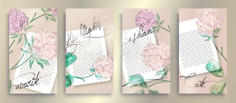 Καθιερώνοντα τη μόδα editable πρότυπα ιστοριών Instagram με το floral σχέδιο, διανυσματική απεικόνιση Υπόβαθρα σχεδίου για τις κο διανυσματική απεικόνιση
