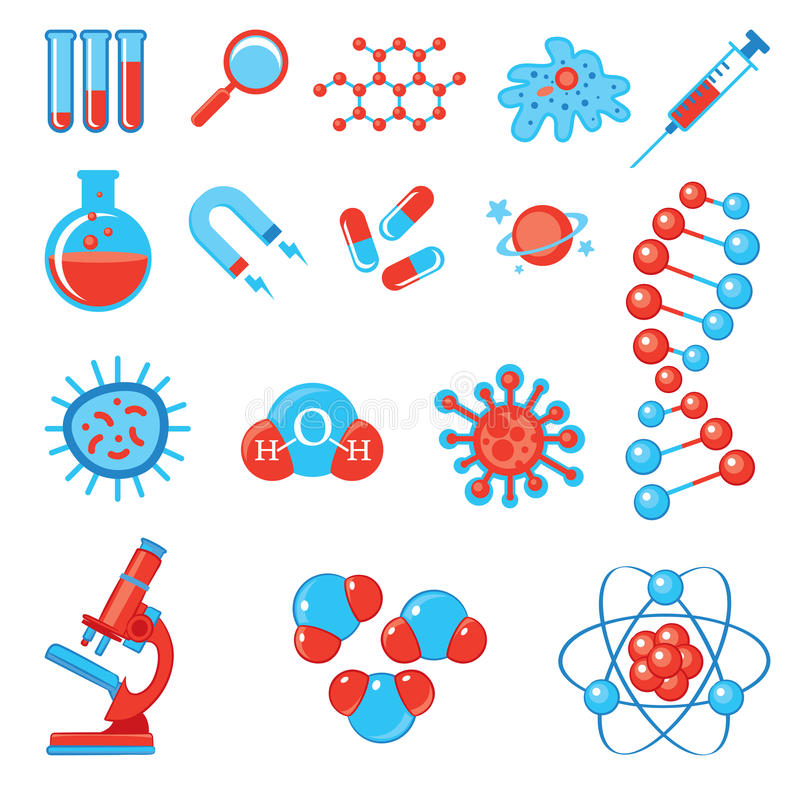 Καθιερώνοντα τη μόδα εικονίδια επιστήμης Η βιολογία και ιατρική χημείας φυσικής ελεύθερη απεικόνιση δικαιώματος
