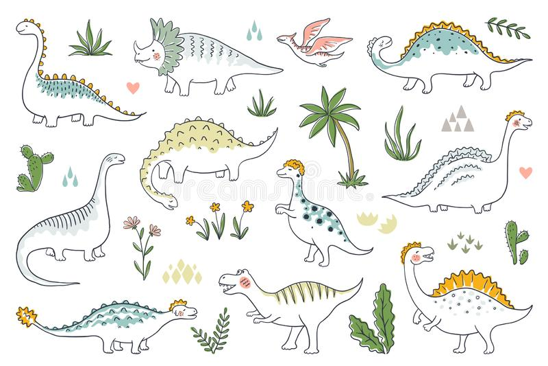 Καθιερώνοντες τη μόδα δεινόσαυροι doodle Χαριτωμένα μωρά του Dino περιλήψεων καθορισμένα, αστείοι δράκοι κινούμενων σχεδίων και ι διανυσματική απεικόνιση
