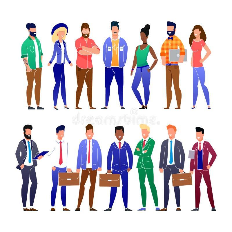 Καθιερώνοντες τη μόδα επίπεδοι επιχειρηματίες και σύνολο Freelancers διανυσματική απεικόνιση