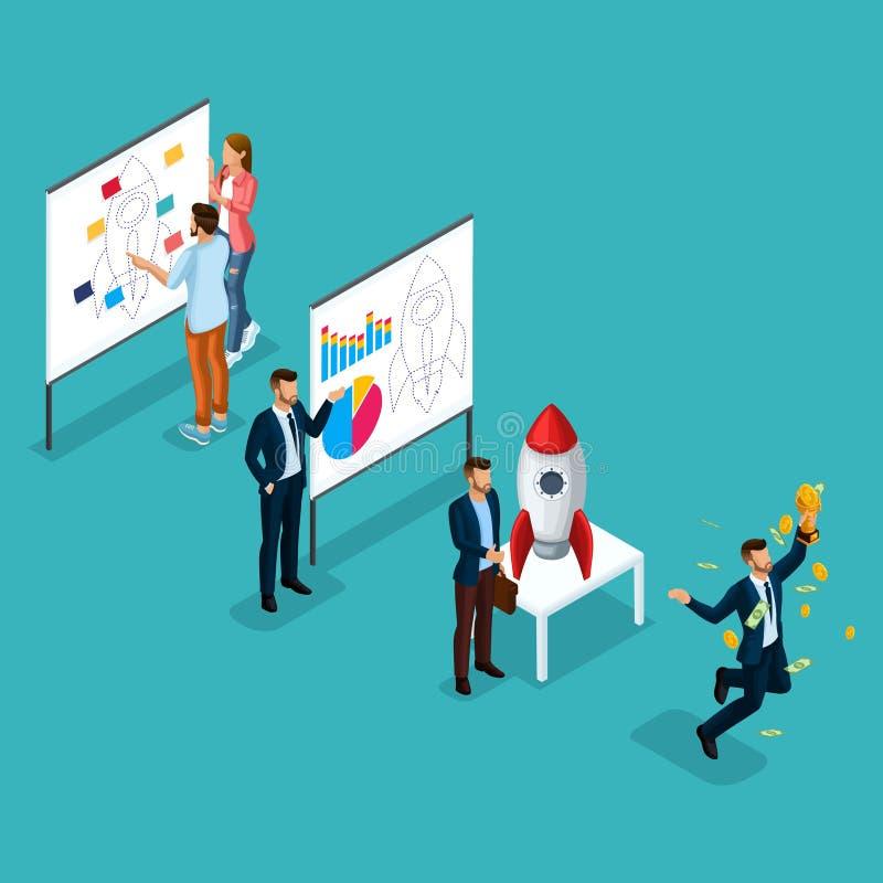 Καθιερώνοντες τη μόδα Isometric άνθρωποι, τρισδιάστατος επιχειρηματίας, ανάπτυξη του ξεκινήματος, πορεία στην επιτυχία, δημιουργι ελεύθερη απεικόνιση δικαιώματος