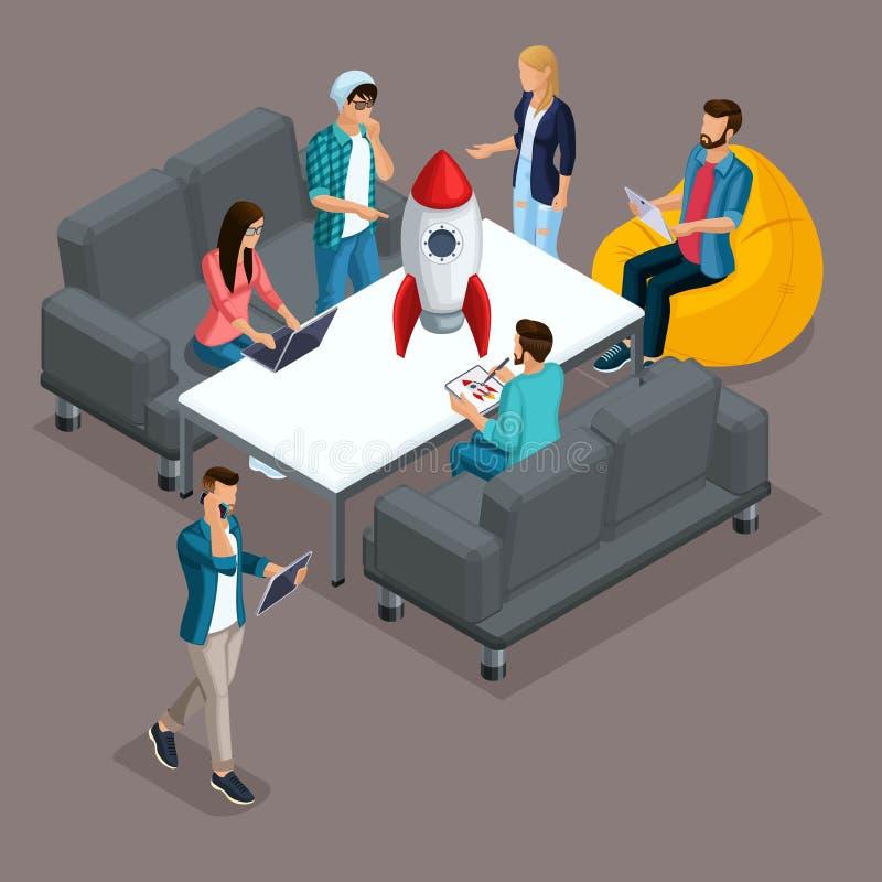 Καθιερώνοντες τη μόδα Isometric άνθρωποι, τρισδιάστατος επιχειρηματίας, ανάπτυξη του ξεκινήματος, δημιουργικοί νέοι, freelancers, ελεύθερη απεικόνιση δικαιώματος