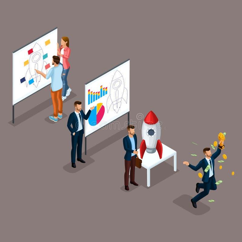 Καθιερώνοντες τη μόδα Isometric άνθρωποι, τρισδιάστατος επιχειρηματίας, ανάπτυξη του ξεκινήματος, πορεία στην επιτυχία, δημιουργι απεικόνιση αποθεμάτων