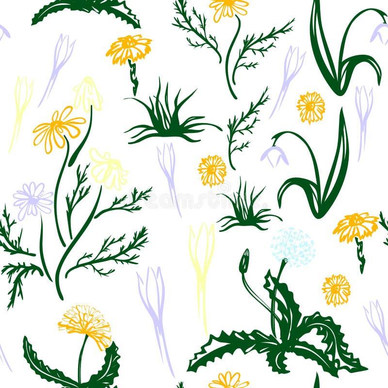 Καθιερώνον τη μόδα άνευ ραφής Floral σχέδιο απεικόνιση αποθεμάτων