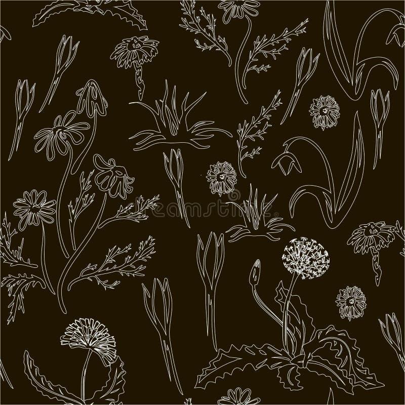 Καθιερώνον τη μόδα άνευ ραφής Floral σχέδιο στο διάνυσμα απεικόνιση αποθεμάτων