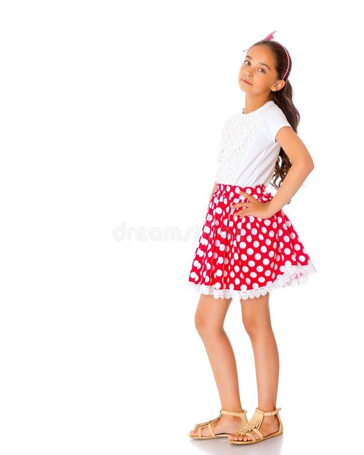Καθιερώνον τη μόδα ασιατικό μικρό κορίτσι στην πλήρη αύξηση στοκ εικόνες