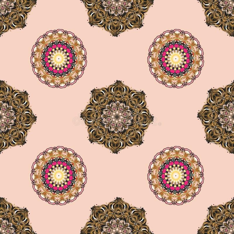 Καθιερώνον τη μόδα διανυσματικό και διακοσμητικό σύνολο σύνθετου mandala και λεπτομερούς σχεδίου διανυσματική απεικόνιση