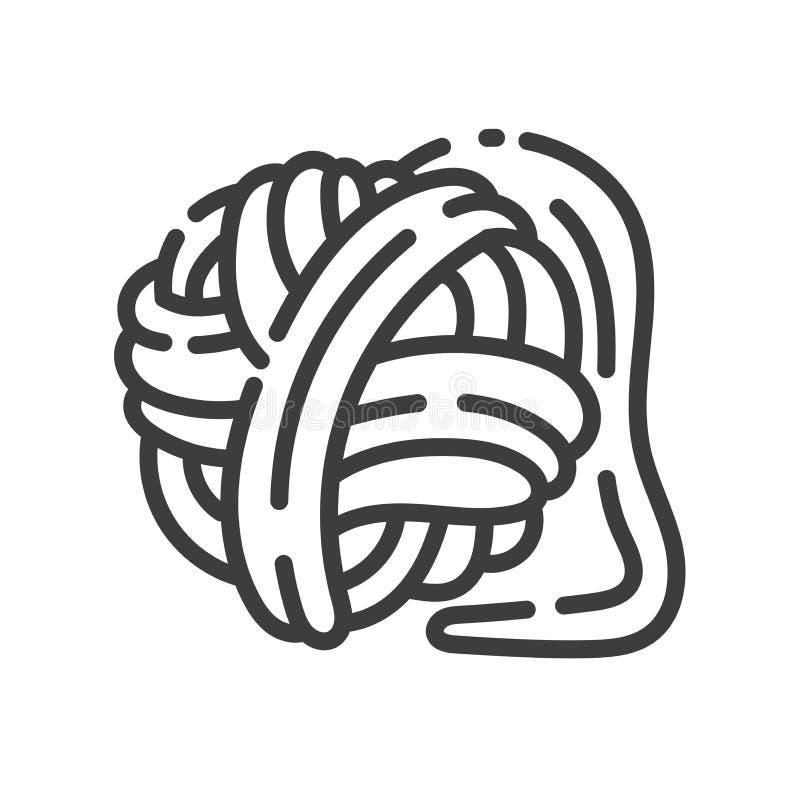 Καθιερώνον τη μόδα εικονίδιο ύφους γραμμών για το ράψιμο των παιχνιδιών - σφαίρα του νήματος διανυσματική απεικόνιση