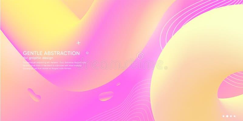 Καθιερώνον τη μόδα ελάχιστο αφηρημένο υπόβαθρο με τη φουτουριστική μορφή Ταπετσαρία χρώματος κλίσης με το ρευστό στοιχείο διάνυσμ απεικόνιση αποθεμάτων