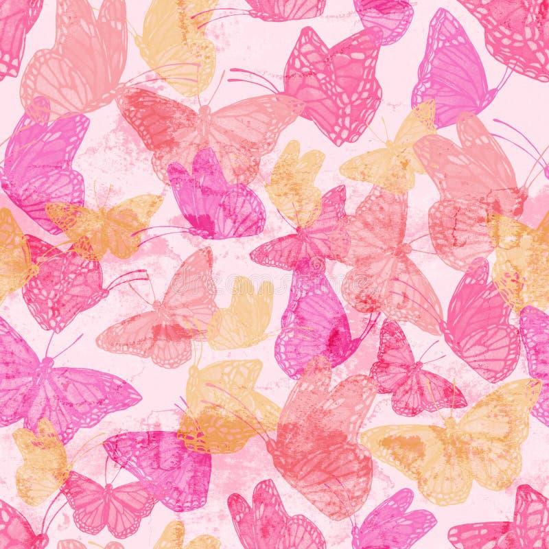 Καθιερώνον τη μόδα ζωηρόχρωμο άνευ ραφής σχέδιο με την πετώντας πεταλούδα χρωματισμένη στη grunge σύσταση στοκ εικόνες με δικαίωμα ελεύθερης χρήσης