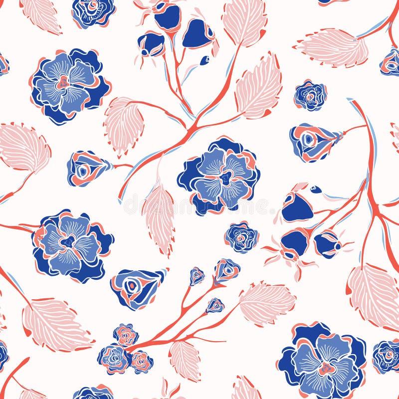 Καθιερώνον τη μόδα ινδικό Floral άνευ ραφής διανυσματικό σχέδιο δαντελλών διανυσματική απεικόνιση