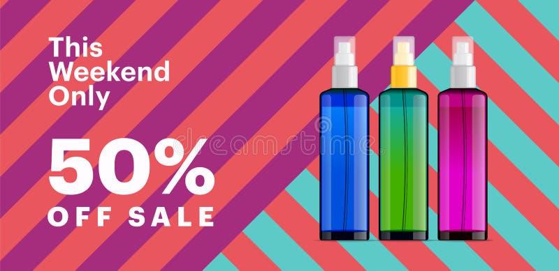 Καθιερώνον τη μόδα καλλυντικό έμβλημα προϊόντων με τα μπουκάλια ουσίας Σύγχρονο γεωμετρικό υπόβαθρο με τα λωρίδες απεικόνιση αποθεμάτων