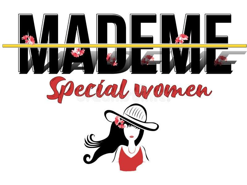 Καθιερώνον τη μόδα μόδας σχέδιο κειμένων γυναικών τυπωμένων υλών ειδικό mademe απεικόνιση αποθεμάτων