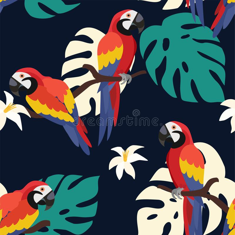 Καθιερώνον τη μόδα σχέδιο με τους παπαγάλους και τα τροπικά φύλλα E διανυσματική απεικόνιση