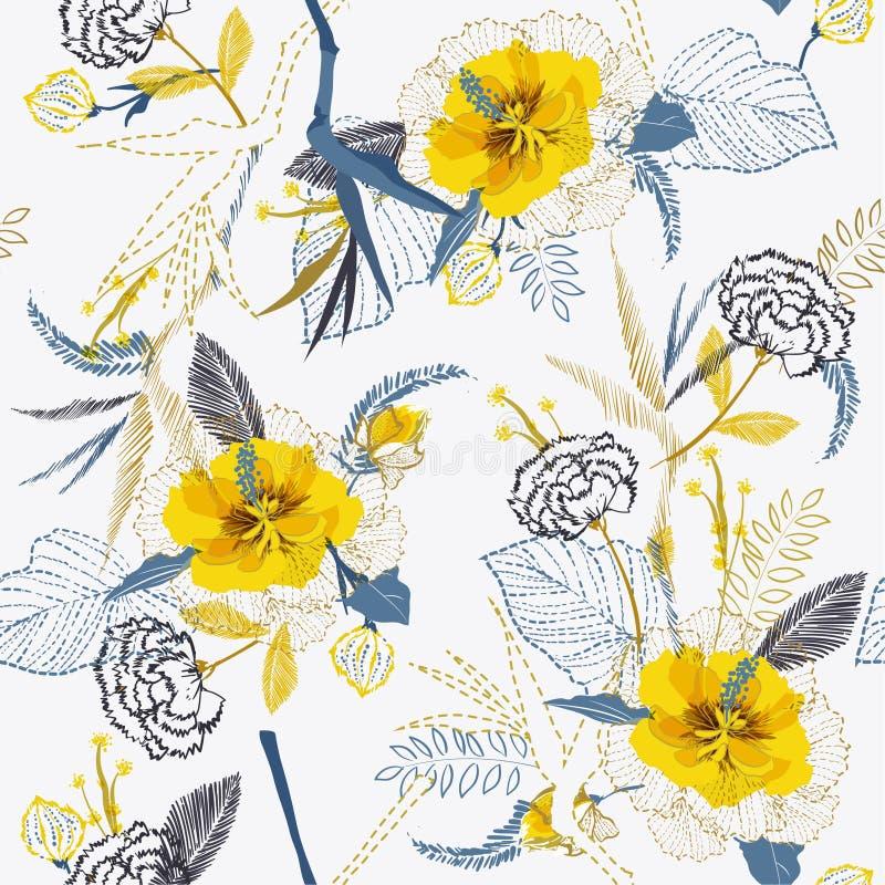Καθιερώνον τη μόδα φωτεινό καλλιτεχνικό τροπικό φρέσκο κίτρινο σχέδιο λουλουδιών στο s διανυσματική απεικόνιση