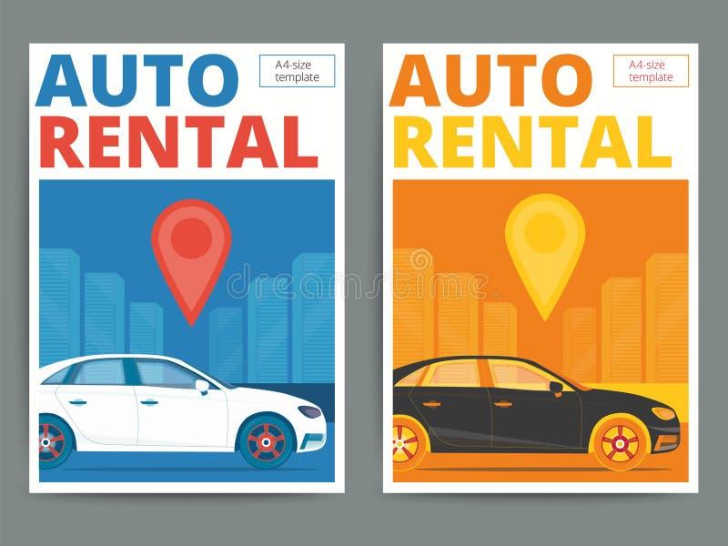 Καθιερώνον τη μόδα αυτόματο σχέδιο αφισών υπηρεσιών ενοικίου Σύγχρονη διανυσματική μίσθωση αυτοκινήτων διανυσματική απεικόνιση