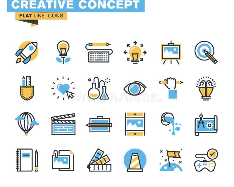 Καθιερώνον τη μόδα επίπεδο πακέτο εικονιδίων γραμμών για τους σχεδιαστές και τους υπεύθυνους για την ανάπτυξη διανυσματική απεικόνιση
