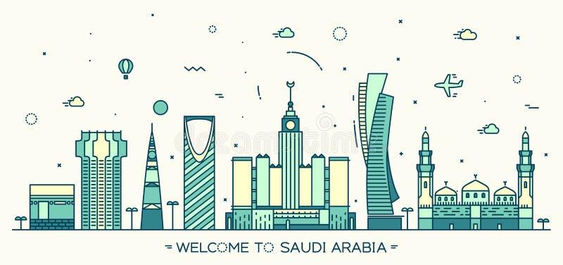 Καθιερώνον τη μόδα διανυσματικό γραμμικό ύφος της Σαουδικής Αραβίας οριζόντων απεικόνιση αποθεμάτων