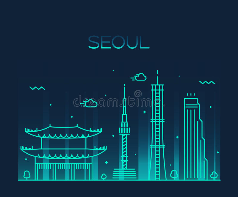 Καθιερώνον τη μόδα διανυσματικό ύφος τέχνης γραμμών οριζόντων πόλεων της Σεούλ διανυσματική απεικόνιση