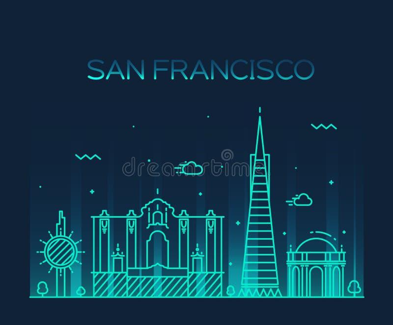 Καθιερώνον τη μόδα διανυσματικό ύφος τέχνης γραμμών πόλεων του Σαν Φρανσίσκο ελεύθερη απεικόνιση δικαιώματος