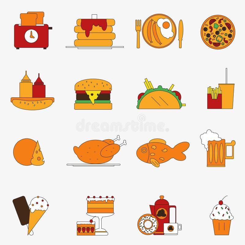 Καθιερώνον τη μόδα σύνολο εικονιδίων τροφίμων χρώματος επίπεδο ευρωπαϊκό μεσημεριανό γεύ επίσης corel σύρετε το διάνυσμα απεικόνι διανυσματική απεικόνιση