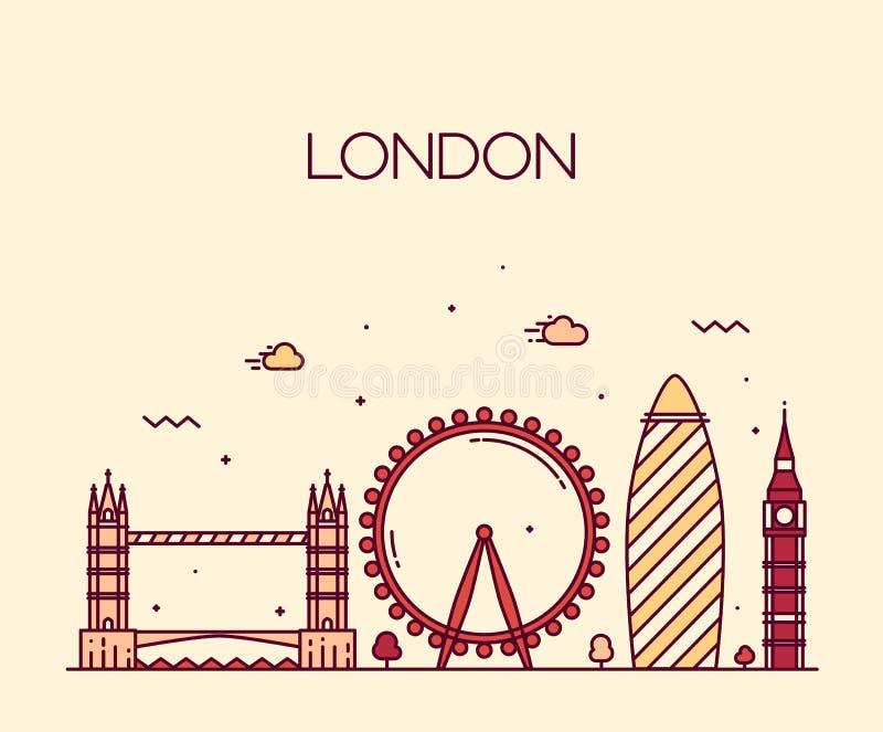 Καθιερώνον τη μόδα ύφος τέχνης γραμμών απεικόνισης του Λονδίνου Αγγλία ελεύθερη απεικόνιση δικαιώματος