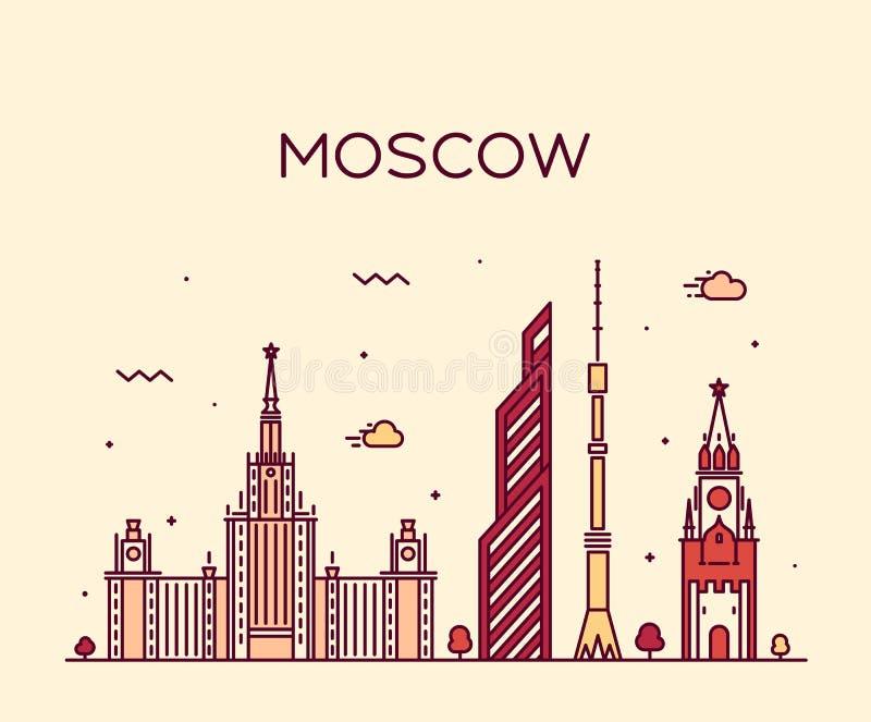 Καθιερώνουσα τη μόδα διανυσματική απεικόνιση οριζόντων της Μόσχας γραμμική ελεύθερη απεικόνιση δικαιώματος