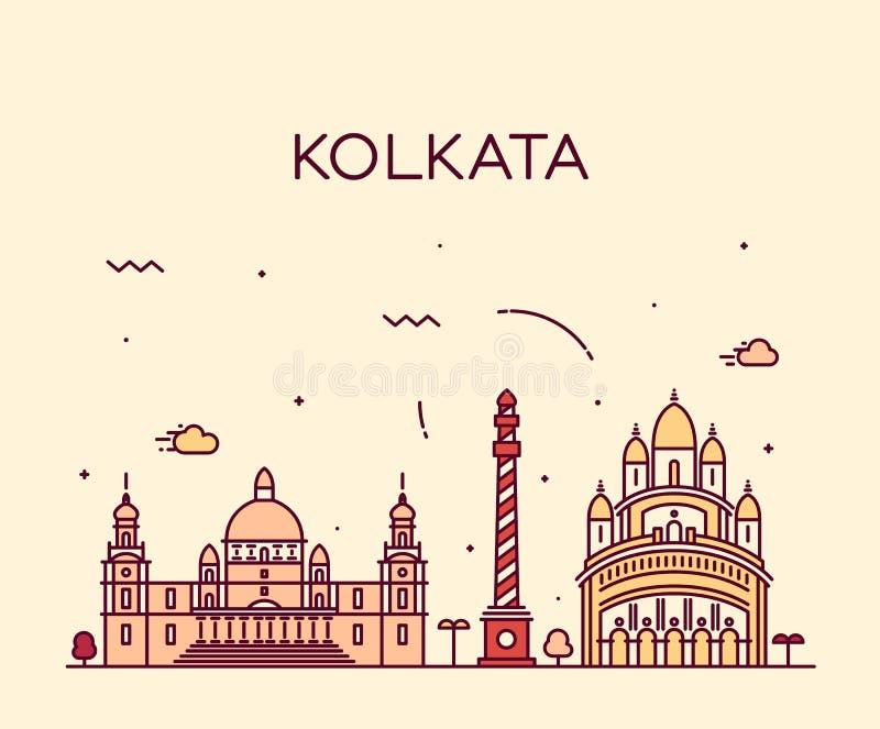 Καθιερώνουσα τη μόδα διανυσματική απεικόνιση οριζόντων Kolkata γραμμική ελεύθερη απεικόνιση δικαιώματος