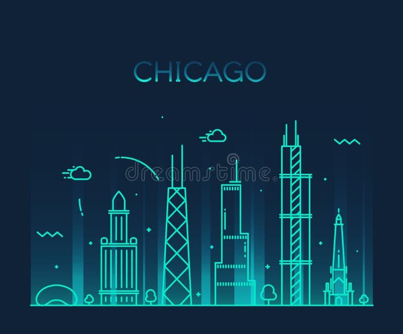 Καθιερώνουσα τη μόδα διανυσματική τέχνη γραμμών οριζόντων πόλεων του Σικάγου απεικόνιση αποθεμάτων
