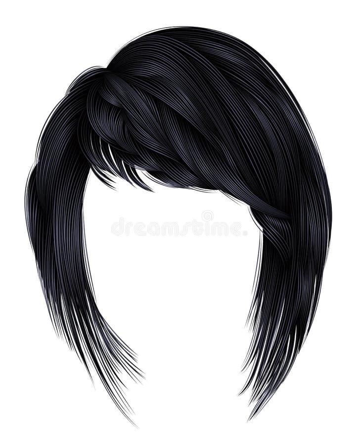 Καθιερώνουσες τη μόδα γυναικών τρίχες χρωμάτων brunette μαύρες σκοτεινές kare με το frin ελεύθερη απεικόνιση δικαιώματος