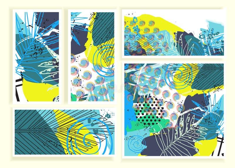 Καθιερώνουσες τη μόδα δημιουργικές αφηρημένες κάρτες διανυσματική απεικόνιση