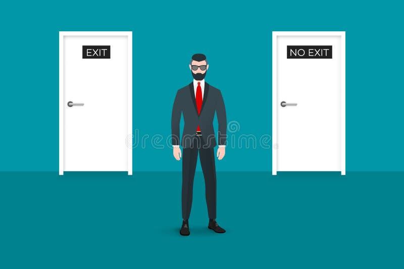 Καθιερώνων τη μόδα πεζός nerd hipster που αντιμετωπίζει το θεατή Υπάρχουν δύο πόρτες στο υπόβαθρο Αυτός ο επιχειρηματίας συμβολίζ απεικόνιση αποθεμάτων
