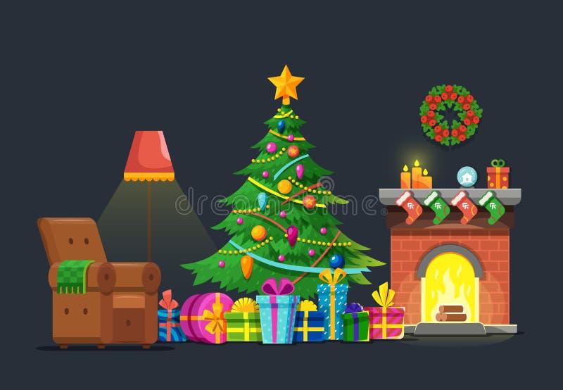 Καθιστικό κινούμενων σχεδίων με το χριστουγεννιάτικο δέντρο και την εστία Διανυσματική επίπεδη έννοια διακοπών Χριστουγέννων απεικόνιση αποθεμάτων