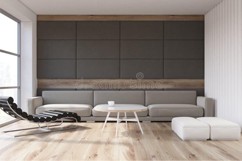 Καθιστικό με την καρέκλα μασάζ, γκρίζα διανυσματική απεικόνιση