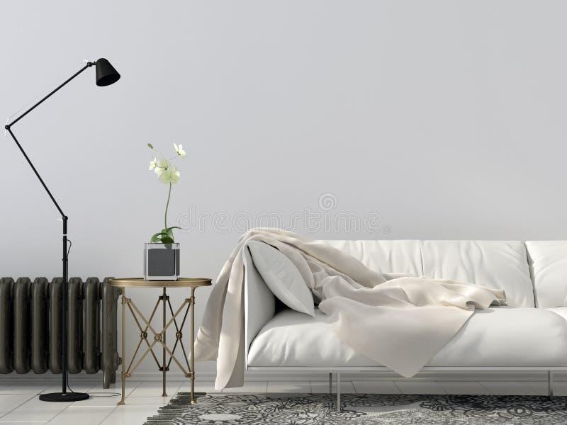 Καθιστικό με τον άσπρο καναπέ ελεύθερη απεικόνιση δικαιώματος