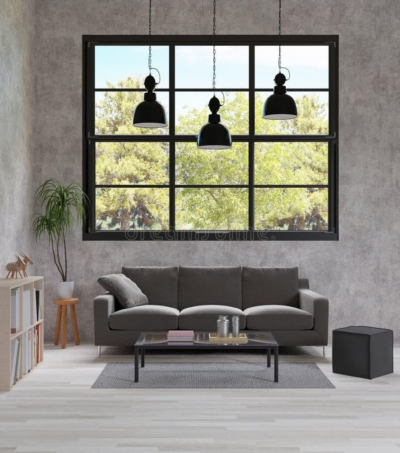Καθιστικό ύφους σοφιτών, ακατέργαστος συγκεκριμένος, σκούρο γκρι καναπές, μαύρος λαμπτήρας, ξύλινο πάτωμα απεικόνιση αποθεμάτων