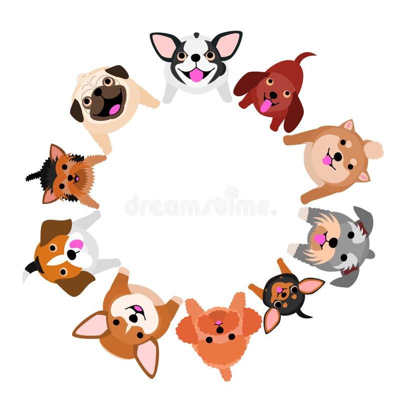 Καθμένος τα μικρά σκυλιά που ανατρέχουν στον κύκλο διανυσματική απεικόνιση