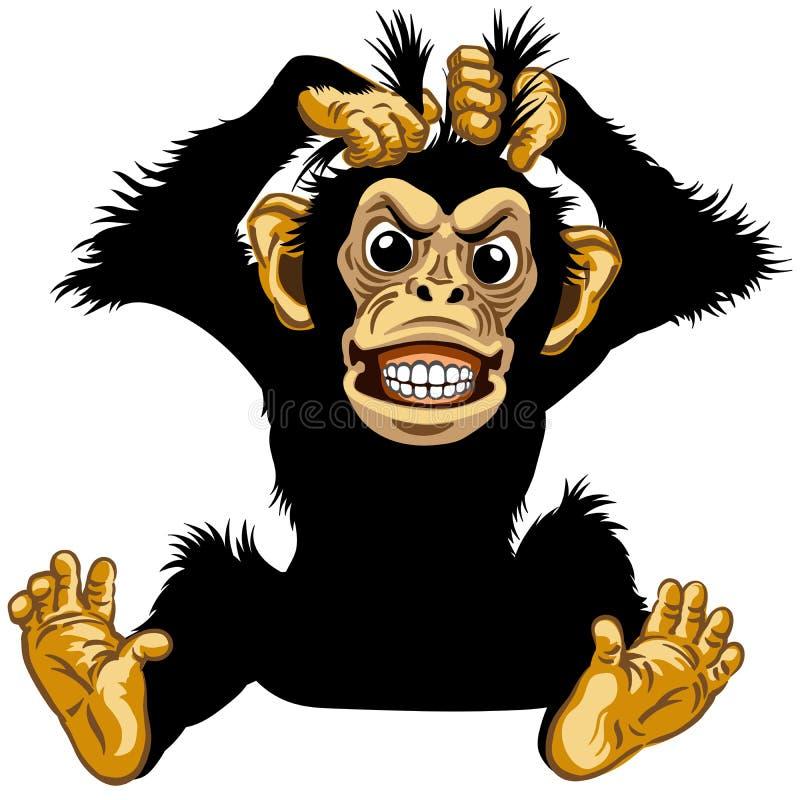 Καθμένος 0 χιμπατζής κινούμενων σχεδίων διανυσματική απεικόνιση