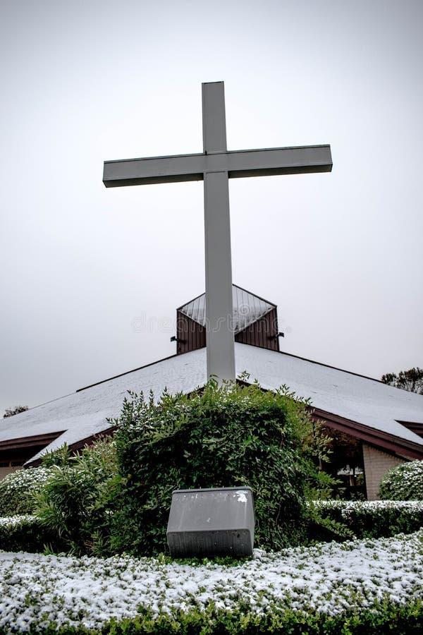 Καθολική εκκλησία του ST Augustine σε ένα Snowday στοκ εικόνα με δικαίωμα ελεύθερης χρήσης