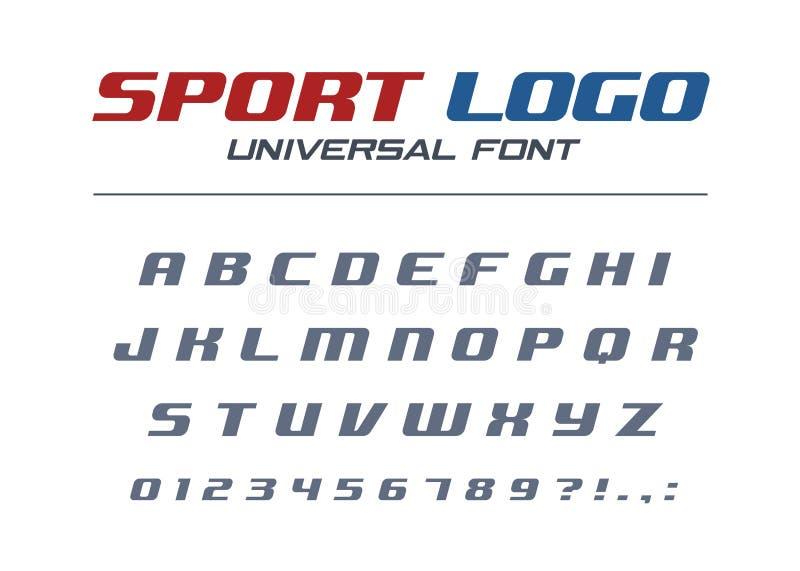 Καθολική κυρτή πηγή αθλητικών λογότυπων Γρήγορο και ισχυρό φουτουριστικό, αθλητικό, δυναμικό αλφάβητο Επιστολές, αριθμοί για υψηλ ελεύθερη απεικόνιση δικαιώματος