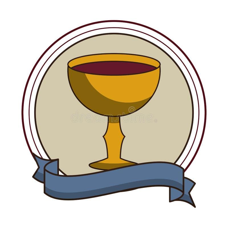 Καθολικός κάλυκας με το κρασί γύρω από το έμβλημα απεικόνιση αποθεμάτων