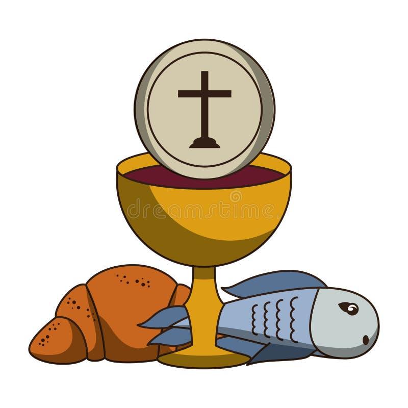 Καθολικός κάλυκας με το κρασί ελεύθερη απεικόνιση δικαιώματος