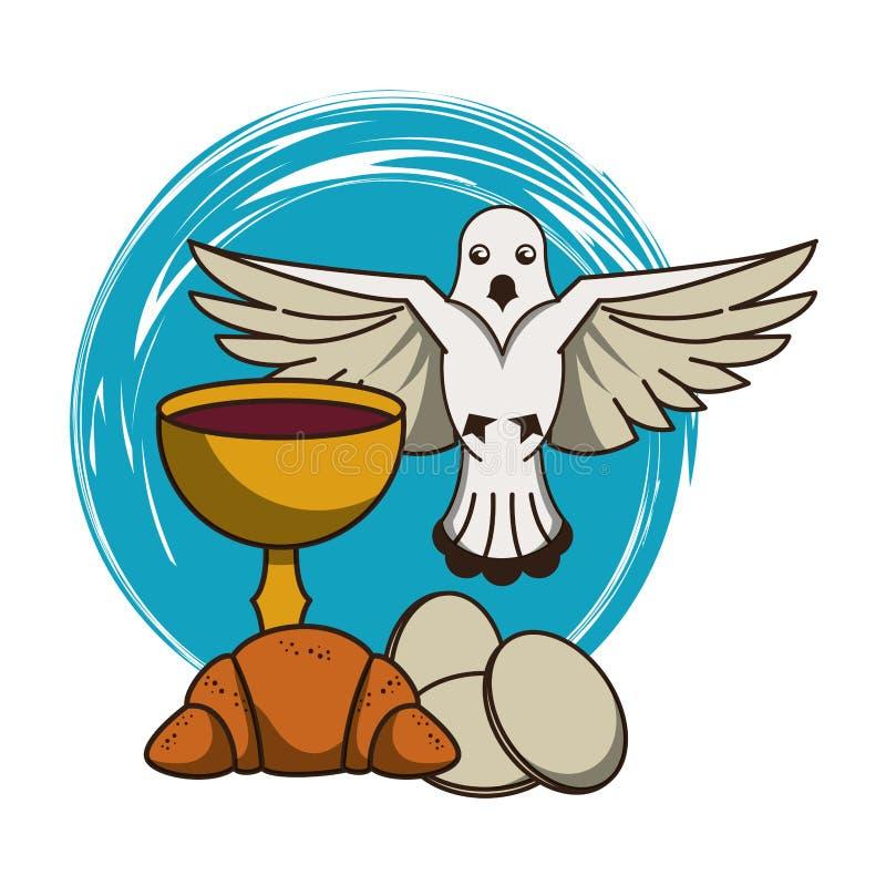 Καθολικός κάλυκας με το κρασί απεικόνιση αποθεμάτων