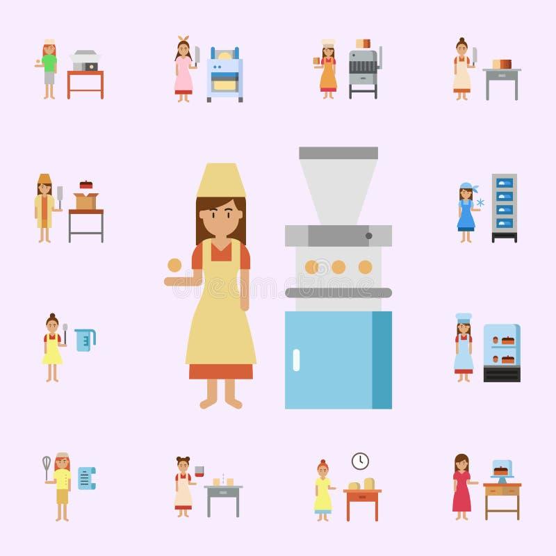 διαιρέτης ζύμης, εικονίδιο χρώματος αρτοποιείων Καθολικό εικονιδίων αρτοποιείων που τίθεται για τον Ιστό και κινητό ελεύθερη απεικόνιση δικαιώματος
