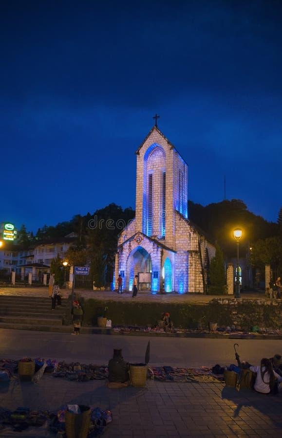 Καθολικό ιερό Rosary καθεδρικών ναών της Notre Dame σε Sapa Βιετνάμ στοκ εικόνες