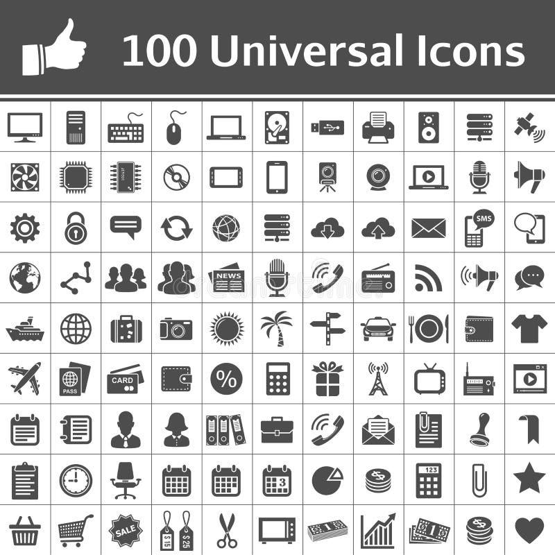 Καθολικό σύνολο εικονιδίων. 100 εικονίδια ελεύθερη απεικόνιση δικαιώματος