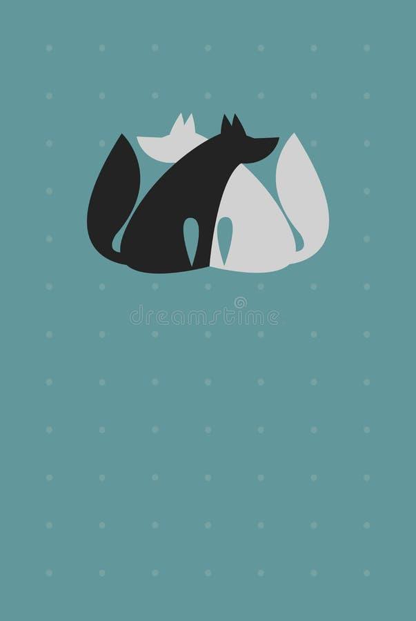Καθολικό υπόβαθρο για την κάρτα με δύο το αγκάλιασμα Wolfs ελεύθερη απεικόνιση δικαιώματος