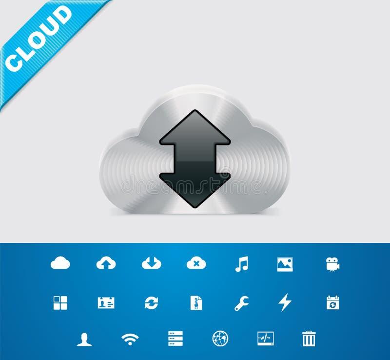 καθολικό 10 υπηρεσιών σύννεφων glyphs ελεύθερη απεικόνιση δικαιώματος
