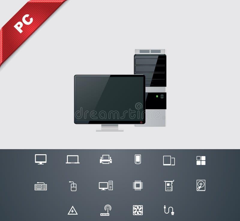 καθολικό 25 υπολογιστών glyphs διανυσματική απεικόνιση